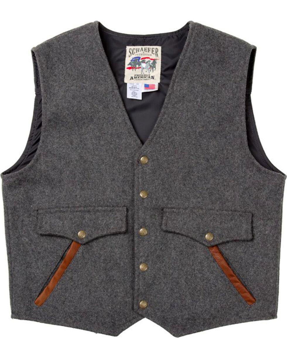 Schaefer Outfitter Men's Charcoal Stockman Melton Wool Vest - 2XL, Charcoal, hi-res
