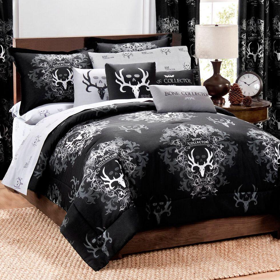 Bone Collector Black King Comforter Set, Black, hi-res