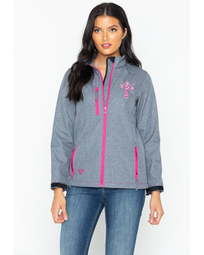 Cowboy Hardware Women's Swirl Cross Poly Shell Jacket, Grey, hi-res