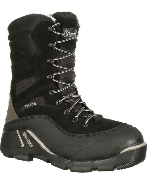 Rocky Men's BlizzardStalker Pro Waterproof Insulated Hunting Boots - Round Toe, Black, hi-res