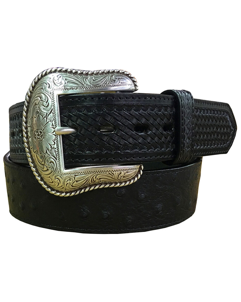 Roper Men's Black Ostrich Print Leather Belt , Black, hi-res