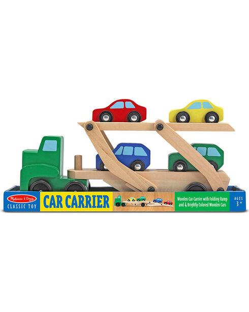Melissa & Doug Boys' Wooden Car Carrier Toy Set , No Color, hi-res