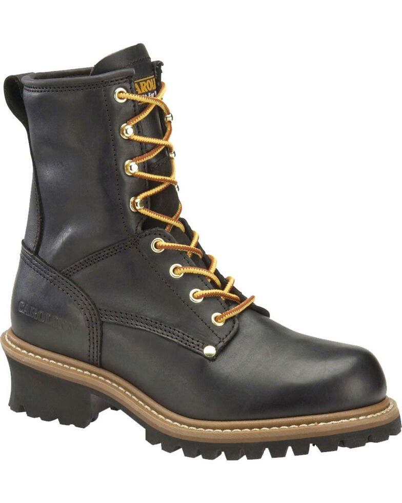 "Carolina Men's Black 8"" Logger Boots - Steel Toe, Black, hi-res"