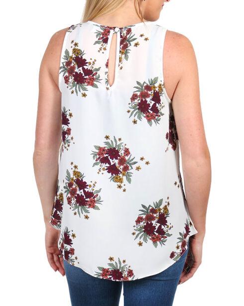 Moa Moa Women's Floral Print Woven Top, White, hi-res