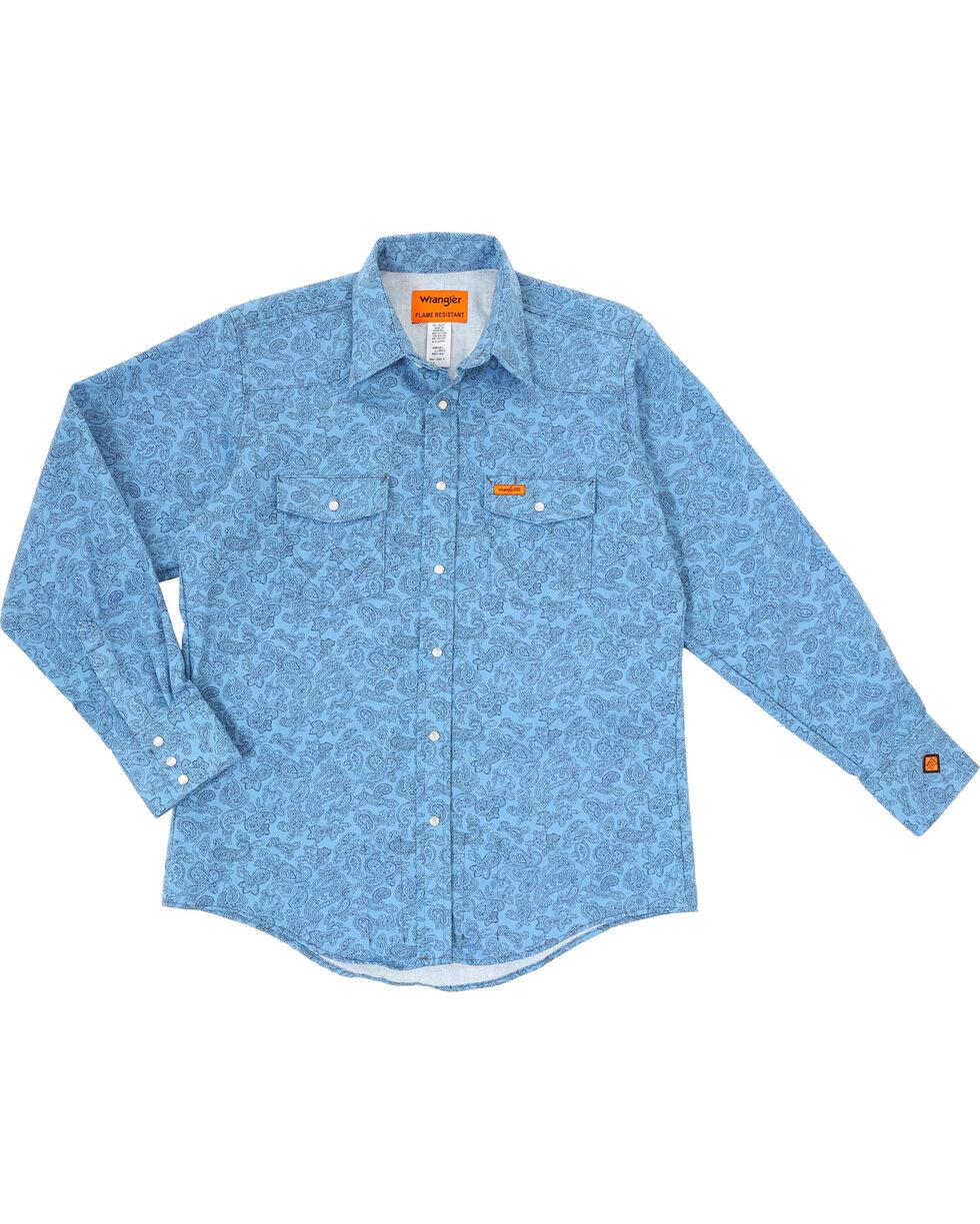 Wrangler Men's Blue FR Paisley Lightweight Work Shirt - Tall , Blue, hi-res
