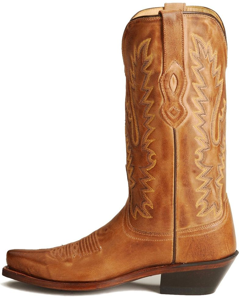 Old West Distressed Leather Cowgirl Boots - Snip Toe, Tan, hi-res