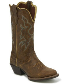 Justin Women's Durant Brown Bomber Western Boots - Square Toe, Brown, hi-res