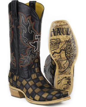 Tin Haul Men's Checkers Coat of Arms Cowboy Boots - Wide Square Toe, Black, hi-res