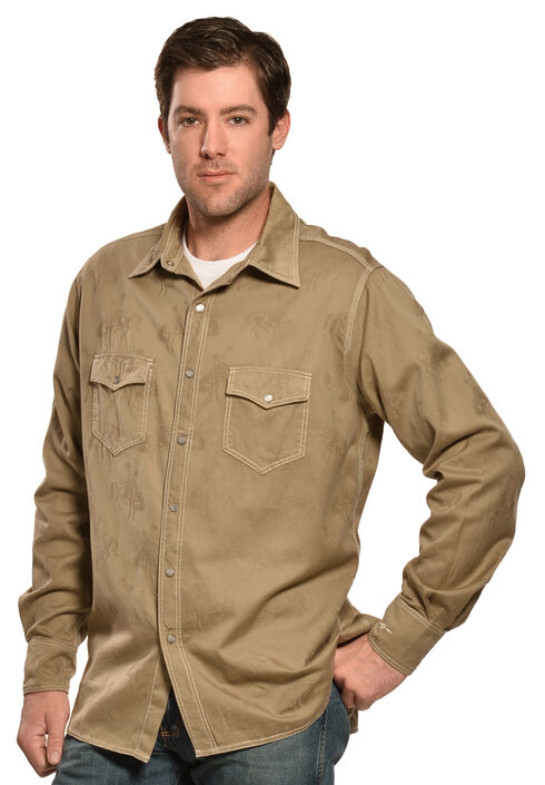 Ryan Michael Men's Bucking Horse Jacquard Shirt, Teak, hi-res