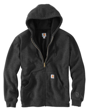Carhartt Rain Defender Rutland Thermal-Lined Hooded Zip-Front Jacket, Charcoal, hi-res