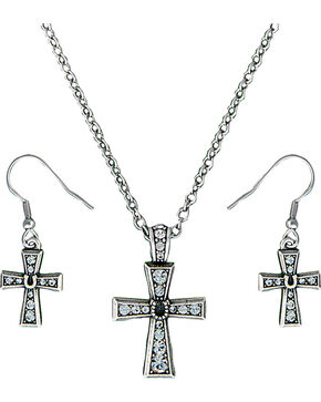 Montana Silversmiths Vintage Horseshoe Cross Jewelry Set, Silver, hi-res