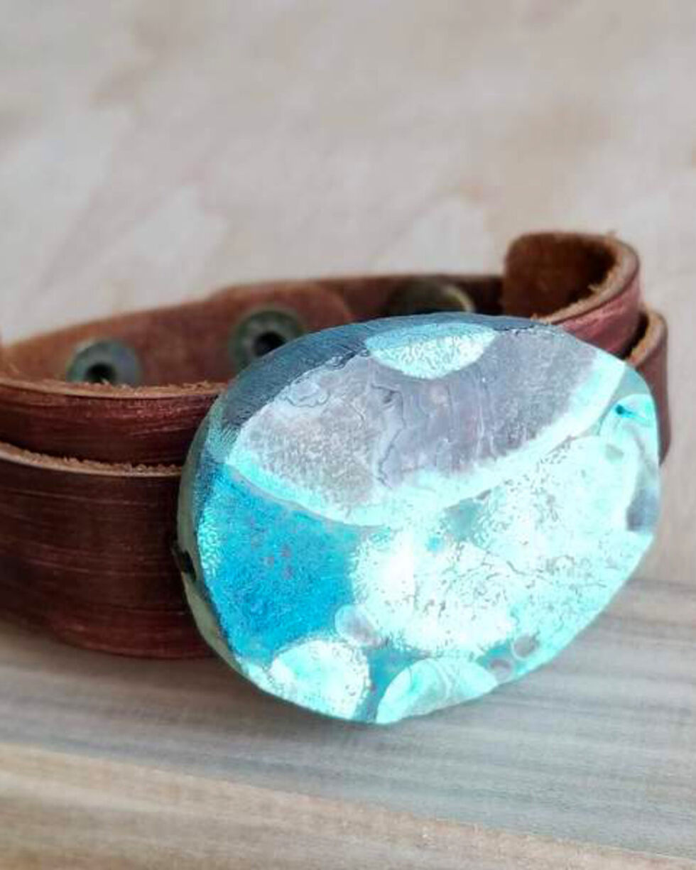 Jewelry Junkie Ocean Agate Slab on Narrow Leather Cuff, Turquoise, hi-res