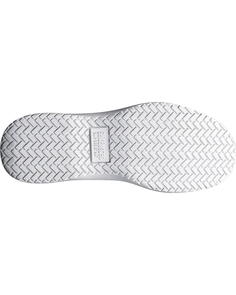 SkidBuster Women's Action Leather Slip Resistant Slip Ons, White, hi-res