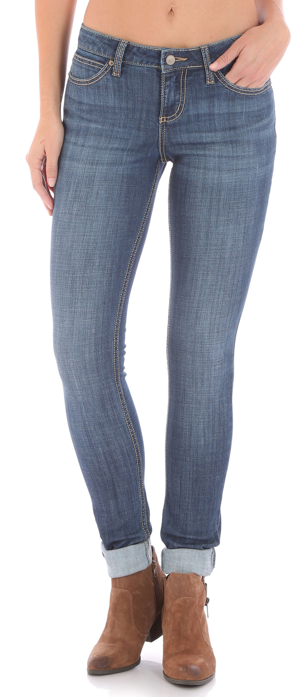Wrangler Women's Medium Wash Retro Mae Skinny Jeans, Indigo, hi-res