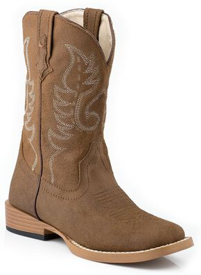 Roper Toddler Boys' Tan Traditional Western Stitched Cowboy Boots, Tan, hi-res