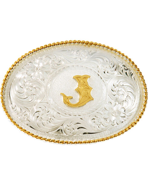 """Montana Silversmiths Initial """"J"""" Buckle, Silver, hi-res"""