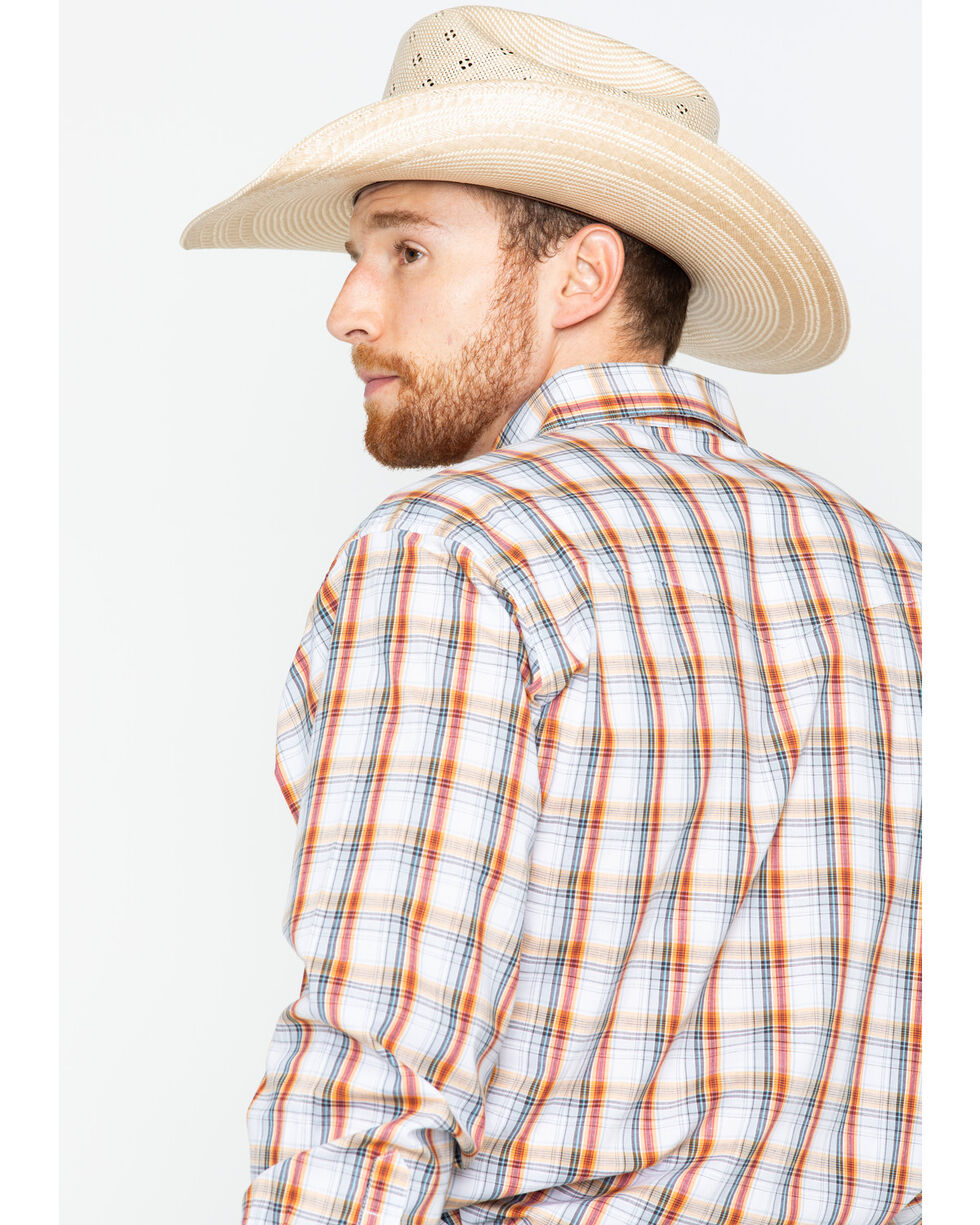 Wrangler Men's Orange Wrinkle Resistant Long Sleeve Shirt , Orange, hi-res