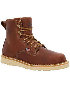 Georgia Boot Men's USA Wedge Work Boots - Steel Toe, Brown, hi-res