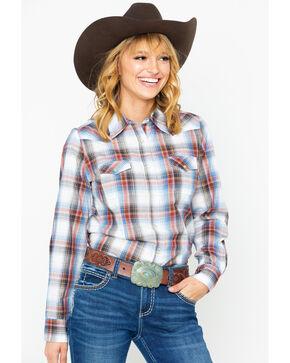 As Real As Wrangler Women's Lurex Snap Long Sleeve Western Shirt, Ivory, hi-res