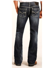 "Rock & Roll Cowboy Men's Small ""V"" Reflex Pistol Boot Jeans, Indigo, hi-res"
