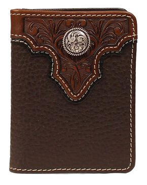 Ariat Tooled Overlay Concho Bi-fold Wallet, Brown, hi-res