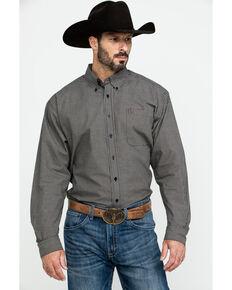 Cinch Men's Black Small Plaid Long Sleeve Western Shirt , Black, hi-res