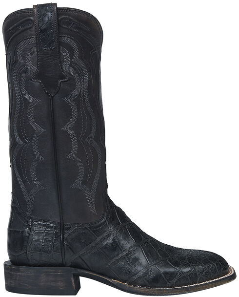 Lucchese Handmade Dark Grey Vince Giant Gator Cowboy Boots - Square Toe  , Dark Grey, hi-res