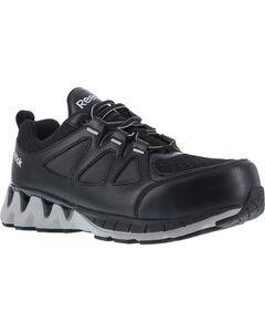 Reebok Men's Leather and Mesh Athletic Oxfords - Composite Toe, Black, hi-res