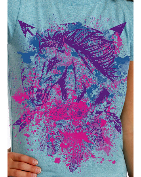 Rock & Roll Cowgirl Girls' Horse and Arrows T-Shirt , Turquoise, hi-res