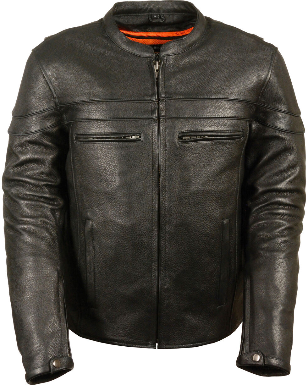Milwaukee Leather Men's Black Sporty Scooter Crossover Jacket - Big - 5X, Black, hi-res