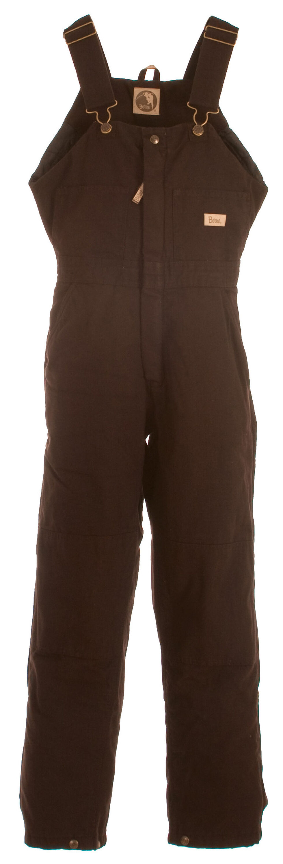 Berne Women's Washed Insulated Bib Overalls - Short, Dark Brown, hi-res