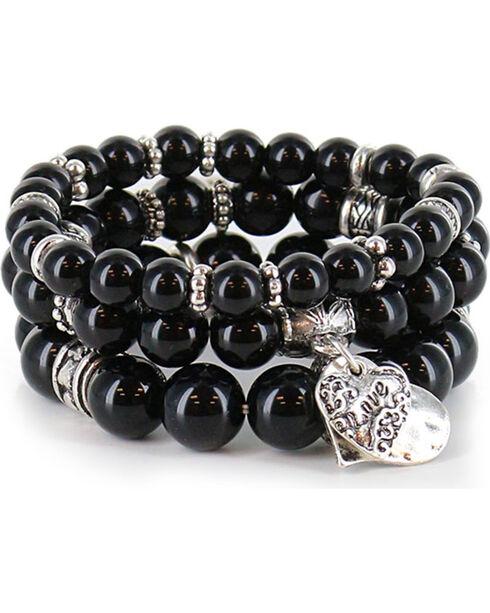 Shyanne Women's Beaded Charm Bracelet, Silver, hi-res