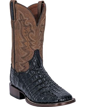 Dan Post Caiman Foot Leather Cowboy Boots - Square Toe, Black, hi-res