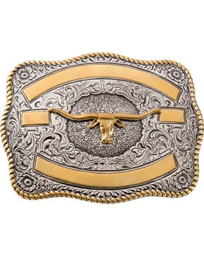 Two-tone Longhorn Belt Buckle, Silver, hi-res