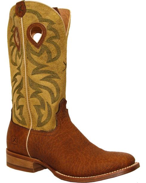 Twisted X Men's Ruff Stock Cowboy Boots - Square Toe, Dark Brown, hi-res