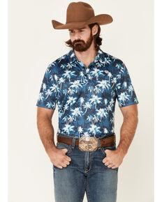 Rock & Roll Denim Men's Palm Tree Print Short Sleeve Polo Shirt , Blue, hi-res