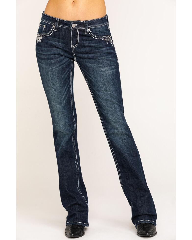 Grace in LA Women's Dark Wash Cross Bootcut Jeans , Blue, hi-res
