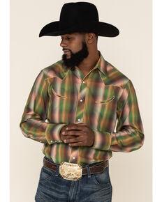 Roper Men's Green Ombre Plaid Fancy Yoke Long Sleeve Western Shirt , Green, hi-res