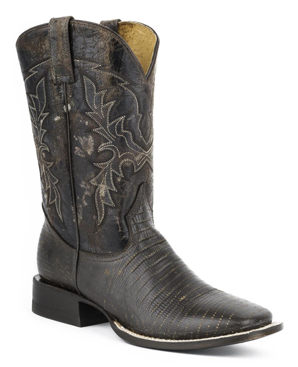 Roper Lizard Print Cowboy Boots - Wide Square Toe, Dark Brown, hi-res