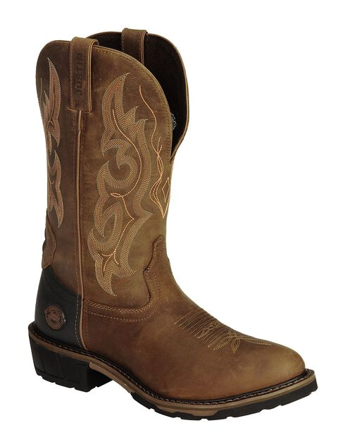 Justin Light Brown Hybred Western Work Boots - Round Toe, Gaucho, hi-res