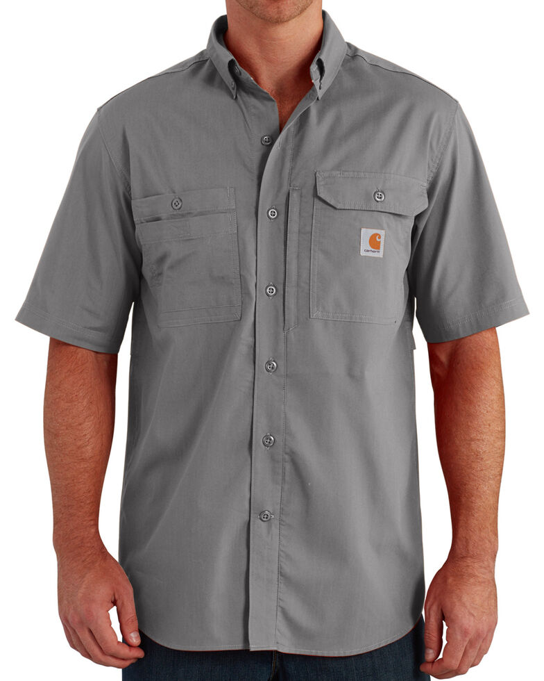 Carhartt Men's Force Ridgefield Short Sleeve Solid Shirt, Charcoal Grey, hi-res
