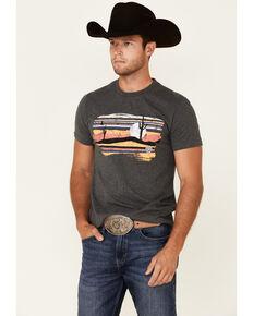 Rock & Roll Denim Men's Charcoal Desert Graphic Short Sleeve T-Shirt , Charcoal, hi-res