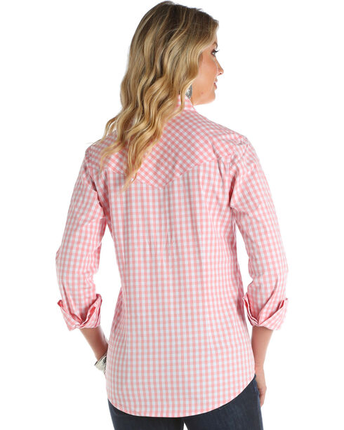 Wrangler Women's Pink Small Plaid Western Shirt , Pink, hi-res