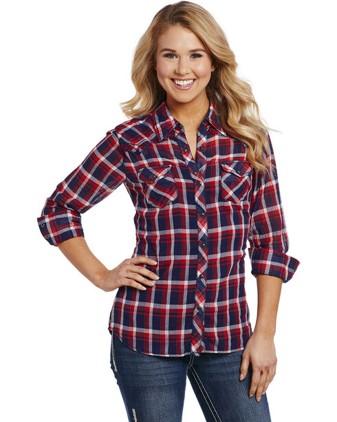Cowgirl Up Women's Red and Blue Plaid Enzyme Wash Shirt , Red/white/blue, hi-res