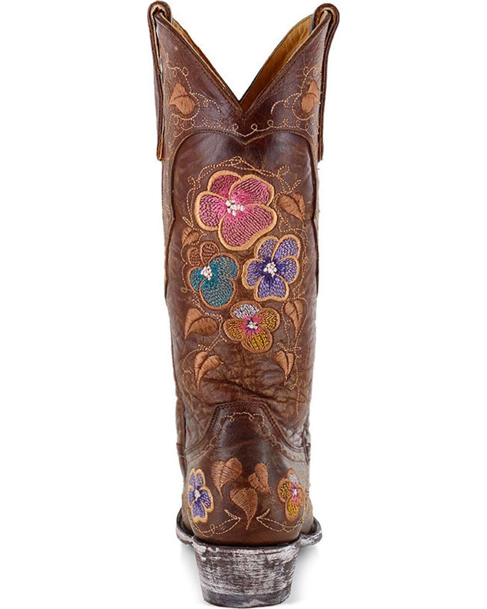 Old Gringo Women's Bronze Pansy Brass Flower Boots - Snip Toe , Bronze, hi-res