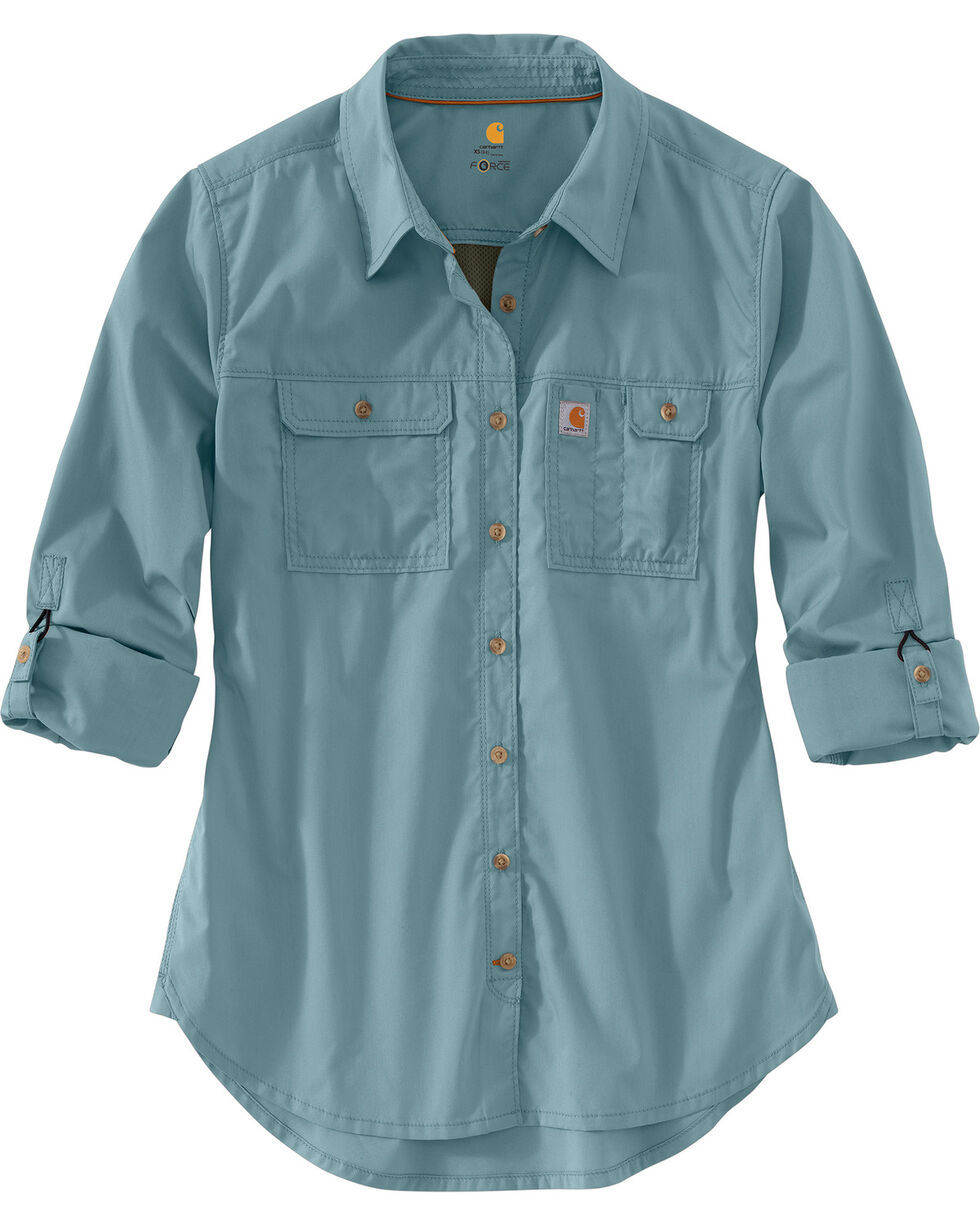 Carhartt Force Women's Ridgefield Shirt, Steel, hi-res