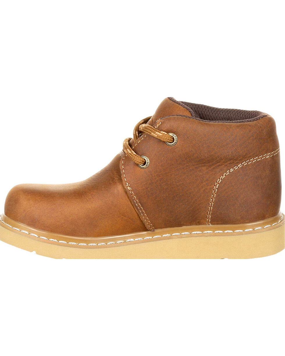 Georgia Boys' Brown Chukka Wedge Boots - Round Toe , Brown, hi-res
