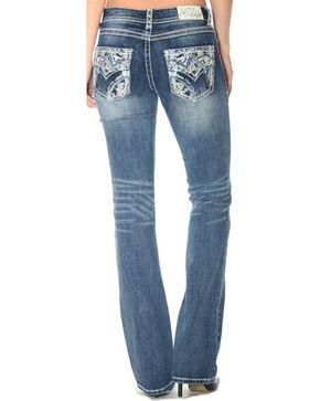Grace in LA Women's Indigo Heavy Stitched Pocket Jeans - Boot Cut , Indigo, hi-res
