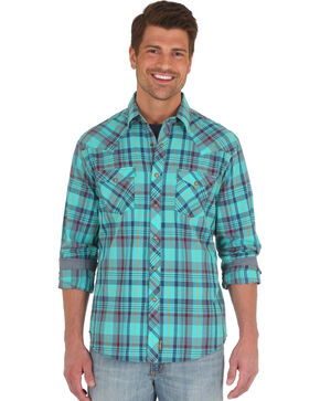 Wrangler Men's Teal Retro Long Sleeve Western Shirt - Tall, Teal, hi-res