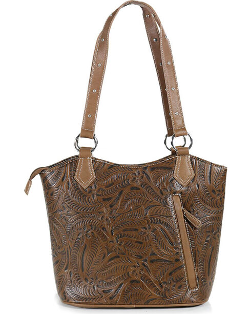 Coral Ridge Women's Eleanor Satchel Crystal Cross Handbag, Brown, hi-res
